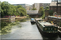 TQ3783 : View of the River Lea from the footbridge by Old Ford Lock #3 by Robert Lamb