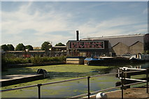 """TQ3783 : View of """"Fish Island Riviera"""" from the River Lea Navigation by Robert Lamb"""