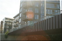 TQ3784 : View of a footbridge over the River Lea from the towpath by Robert Lamb