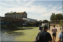 TQ3784 : View of the Queens Yard and White Buildings from the River Lea Navigation by Robert Lamb