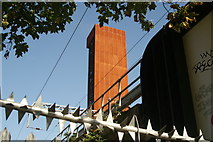 TQ3784 : View of the London Olympics Energy Centre from the River Lea Navigation #2 by Robert Lamb
