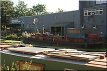 TQ3784 : View of a boat moored up at Grow Bar and Restaurant from the River Lea Navigation by Robert Lamb