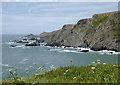SS2225 : Rocky shoreline north of Hartland Quay, Devon by Roger  Kidd