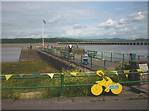 SD4578 : Bay Cycle Way sign, Arnside Pier by Karl and Ali