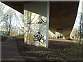 SP3477 : North under the A444 flyover, Whitley, Coventry by Robin Stott