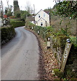SO5206 : Skull-topped SLOW! sign, Whitebrook by Jaggery