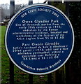 SO3700 : Owen Glyndŵr Park blue plaque, Usk by Jaggery