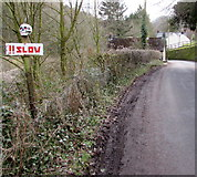 SO5206 : Skull-topped !!SLOW sign, Whitebrook by Jaggery