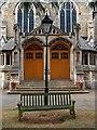 TQ2496 : Twin entrance doors, United Reformed Church, Barnet by Julian Osley