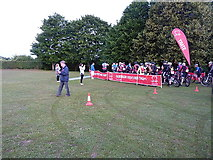 SU4928 : Start line - BHF South Downs Way bike ride 2015 by Richard Law
