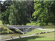 SJ6855 : Queen's Park: lake, north bridge by Stephen Craven