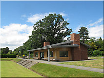SJ6855 : Queen's Park: bowling green clubhouse by Stephen Craven