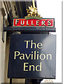 TQ3281 : The Pavilion End sign by Oast House Archive