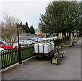 SP0229 : Old milk churns on Winchcombe railway station by Jaggery