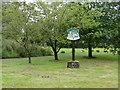 TF7418 : Gayton Thorpe village sign near the village pond by Adrian S Pye