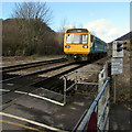 ST1281 : Train approaches Gelynis Level Crossing, Morganstown, Cardiff by Jaggery