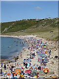 SW3526 : Sennen beach at the height of the summer holidays by Rod Allday
