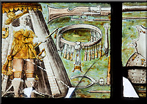 SJ4154 : St Chad's church, Farndon - the Civil War window (3) by Mike Searle
