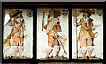 SJ4154 : St Chad's church, Farndon - the Civil War window (5) by Mike Searle