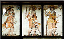 SJ4154 : St Chad's church, Farndon - the Civil War window (5) by Mike Searle