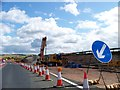 NS7861 : Approaching roadworks at A73 roundabout from M8 slip road by Elliott Simpson