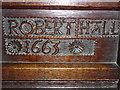 SK1582 : St Edmund, Castleton: pew name (C) by Basher Eyre