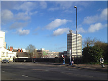SP3378 : Warwick Road railway bridge and bus stop, Coventry by Robin Stott