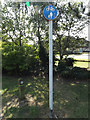 TL0652 : Cycle sign in Mowsbury Park by Adrian Cable
