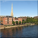 SO8454 : Worcester: waterfront and St Andrew's steeple by John Sutton