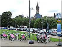 NS5666 : Nextbike Glasgow cycle hire point: Kelvingrove Art Gallery by Thomas Nugent