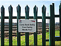 NY3857 : Network Rail safety notice by Rose and Trev Clough