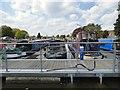 SJ9097 : Narrowboats at Droylsden Marina by Gerald England