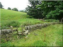 SE0322 : Stile and path junction on Sowerby Bridge FP141 by Humphrey Bolton