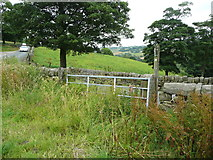 SE0322 : Narrow stile and signpost on Sowerby Bridge FP141, Link E, at Bowood Lane by Humphrey Bolton