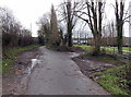 ST3390 : Muddy-edged side road in Caerleon by Jaggery