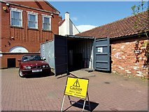 TF0920 : Makeshift storage for market stalls at Bourne, Lincolnshire by Rex Needle