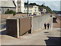SX9473 : Flood gate, flood wall and profiled sea wall by Den Promenade, Teignmouth by Robin Stott