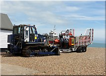 TR3751 : Evicted  Lifeboat  and  tractor  stationed  on  the  beach by Martin Dawes