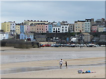 SN1300 : Tenby's North Beach and harbour at low tide by Gareth James