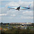 SP1882 : A Thomson Airlines flight prepares to land at Birmingham Airport by Robin Stott