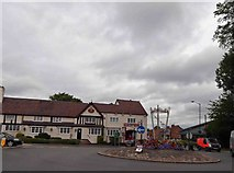 SP0764 : Roundabout and the Barley Mow public house Studley by Steve  Fareham