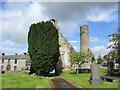 S1389 : Yew and west front of old St. Cronan's church by Jonathan Thacker