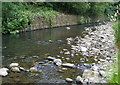 SO2001 : Ebbw River, near Railway Terrace, Aberbeeg, Summer by M J Roscoe
