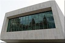 SJ3390 : Royal Liver Building reflected in new Liverpool Museum by Matt Harrop