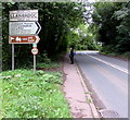 SO3700 : Old-style village boundary sign, Llanbadoc by Jaggery