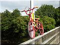 NY8464 : The stripey bikes of Haydon Bridge (5) by Oliver Dixon