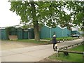 SP3271 : Green-painted sheds, Stoneleigh Park by Robin Stott