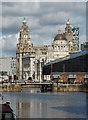SJ3489 : Albert Dock swing bridge with the 'three graces' beyond by Chris Allen