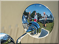 TQ3499 : Reflection at Classic Car Show, Capel Manor, Enfield by Christine Matthews