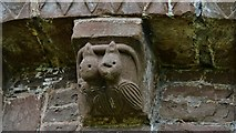 SO4430 : Kilpeck: The church of St. Mary and St. David: Eastern aspect corbel table carving 2 by Michael Garlick